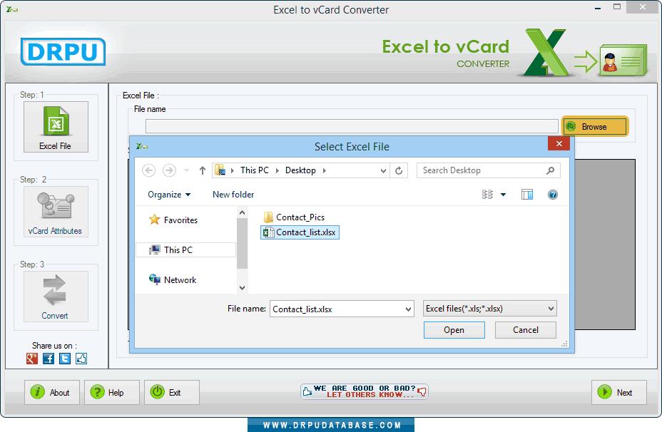DRPU Conversion Software - Excel to vCard screenshots